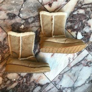 Roxy Idaho Beige Leather Suede Fur Boots